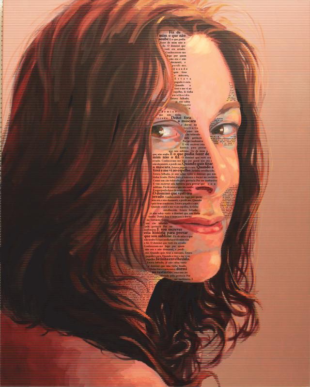 Balbina Mendes  Depus a Máscara III  óleo s_ tela e serigrafia s_ plexiglas  100x80cm  2016